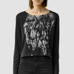 AllSaints XS Black Prowl Tiger Cropped Sweater NWT